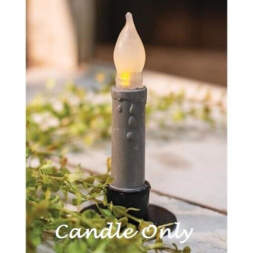 "GRAY Taper Candle Cement Look Finish 4"" Timer Primitive Farmhouse Chic Rustic"