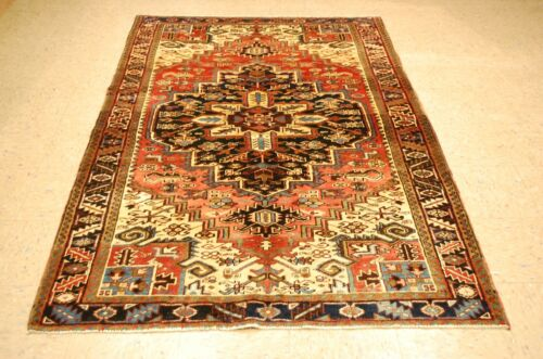 """C1930s VINTAGE HERIIZ SERAPHI  RUG ROOM SIZE 4' 7"""" x 7' 3"""" HAND KNOTED WOVEN"""