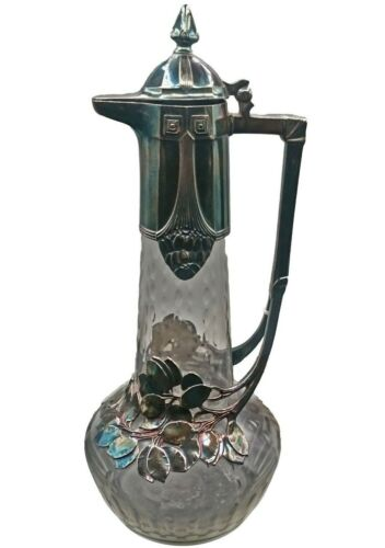 Art Nouveau Jugendstil 1904 WMF Silver Overlay Glass Wine Claret Pitcher WMFB