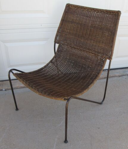 Frederick Weinberg Style Iron Wicker Sling Scoop Chair MCM Lounge Chair