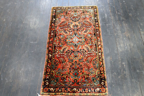 4X2 1940's GORGEOUS AUTHENTIC ANTIQUE HAND KNOTTED SAROUKK FARAHANN WOOL RUG
