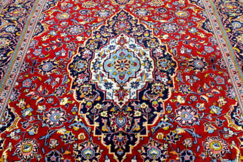 8X11 1940's AUTHENTIC HAND KNOTTED 80+YEARS ANTIQUE WOOL KASHANN DISTRESSED RUG