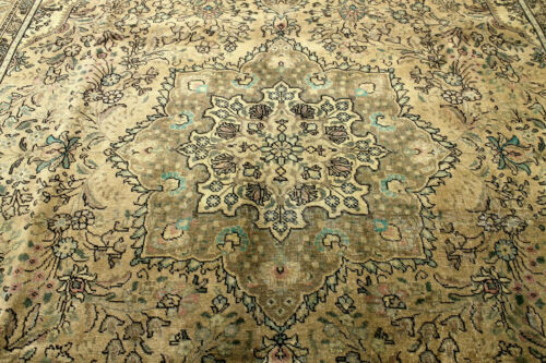 9X11 1930s MUSEUM PIECE ANTQ HAND KNOTED VEGETABLE DYE TABRIZZ WOOL ORIENTAL RUG