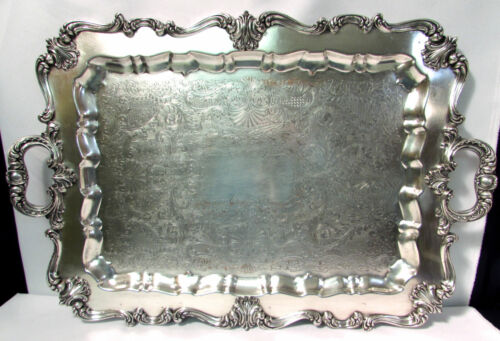 W & S Blackinton Co. Silverplate Footed Large Waiter Serving Tray Victoria #134