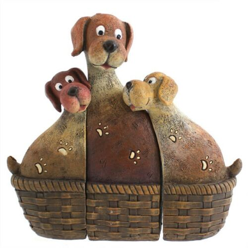 3 Piece Basket of Puppies Ornament Figurines - Dog Lover Gift
