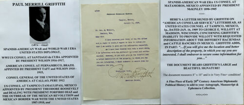 WWI DIPLOMAT MEXICAN REVOLUTION BORDER WAR CONSUL TAMPICO MEXICO LETTER SIGNED !Presidential - 48775