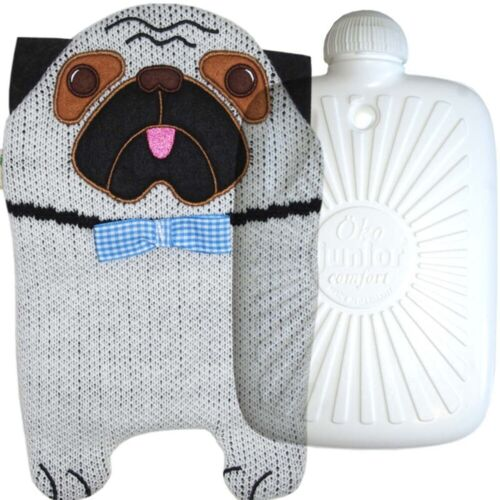 Hugo Frosch ECO Hot Water Bottle In Knitted Pug Cover 0.8L