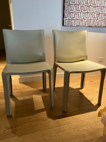 Cassina cab chair 412, set of 2, beige leather, by Mario Bellini, Original