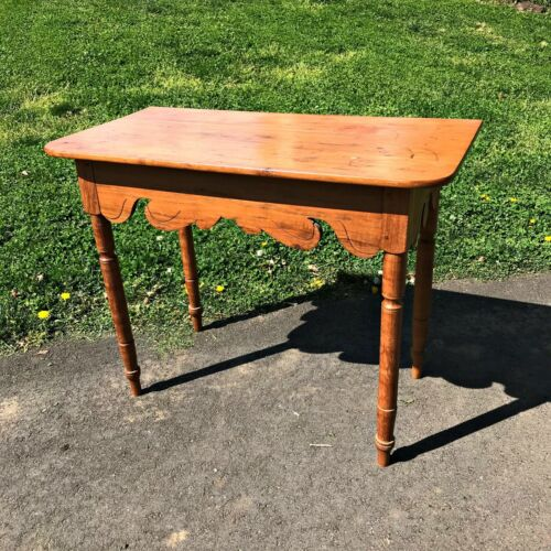 Antique 1800's Walnut Console Table -Foyer Stand pegged/square nails/turned legs