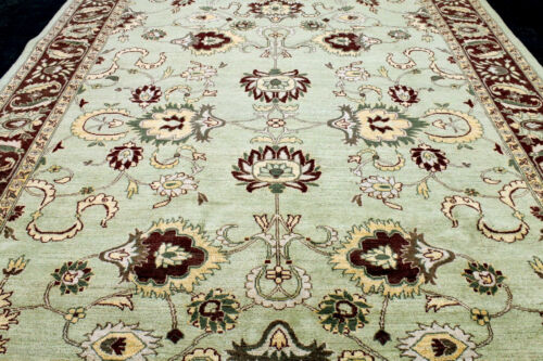 9X12 MINT NEW HAND KNOTTED VEGETABLE DYE ANTIQUE CUT GOLDEN OUSHAK TURKISH RUG