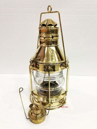 """Antique Heavy Duty Nautical Solid Brass 15"""" Oil Hanging Lantern Home Decor Gift"""