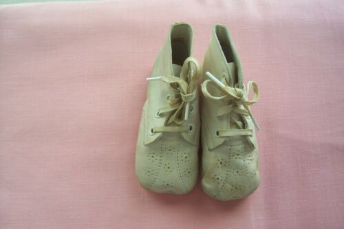"Vtg Antique leather Baby Shoes Cotton Strings ""Dolls"""