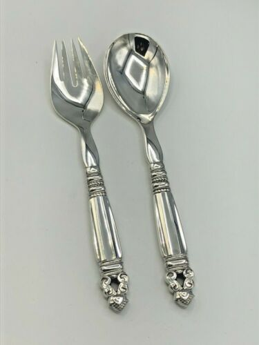 """Acorn by George Jensen 2 piece Salad Set 8 5/8"""", Sterling Handles and bowls"""