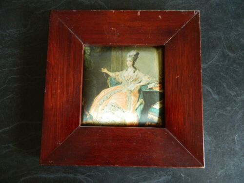 Vintage Silk Picture Print Framed Wall Deco Print Victorian lady In Peach Dress