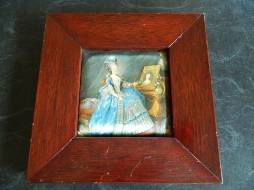 Vintage Silk Picture Print Framed Wall Deco Print Victorian lady In Blue Dress