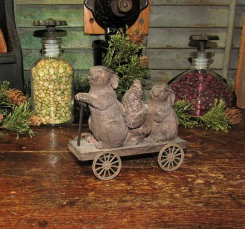 Primitive Antique Vtg Style Bunny Rabbits Rooster Chicken Hen Go Cart w/ WHEELS