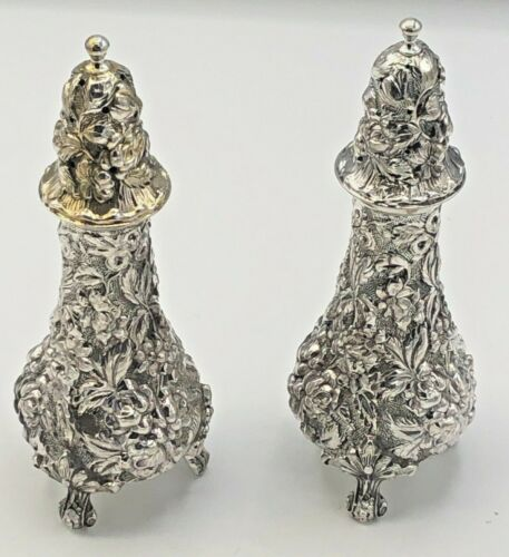 Stieff Rose by Stieff Sterling Silver pair of Salt & Pepper Shakers # 12A