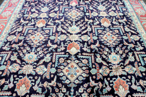 10X13 1930 ANTIQUE HAND KNOTTED VEGETABLE DYE WOOL TABRIZZ SERAPI DISTRESSED RUG