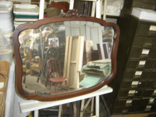 Antique Salvage ~ Walnut Shaped Beveled Mirror w/Applied carving           #1509