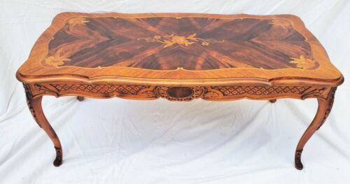 Vintage Walnut Carved French Style Inlaid Flower Coffee Table  LA Area