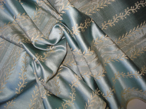 antique french blue silk satin damask   with moire accents