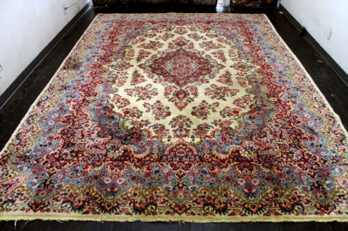 10X14 1940's AUTHENTIC FINE ANTIQUE HAND KNOTTED KASHMARR WOOL DISTRESSED RUG