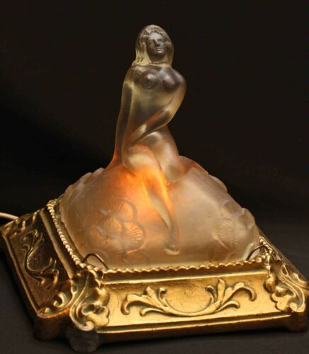 antique c.1920s Art Deco NUDE LADY LAMP, Frosted Glass & Metal