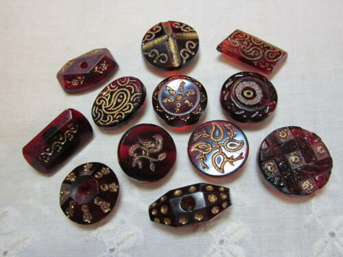 BEAUTIFUL LOT OF ANTIQUE/ VICTORIAN RUBY RED GLASS BUTTONS/ GOLD INCISED DESIGN