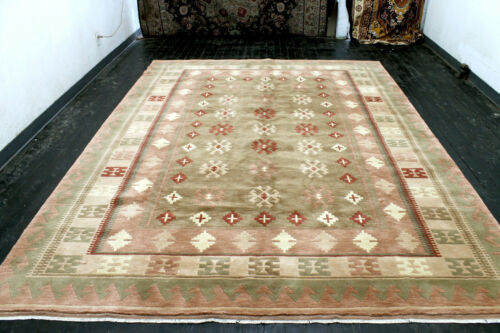 8X11 BREATHTAKING MINT NEW 200+KPSI HAND KNOTTED GEOMETRIC WOOL ORIENTAL RUG