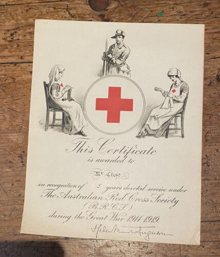 Old WWI Australian Red Cross Service Recognition Certificate 1914-19 to Ms Croft