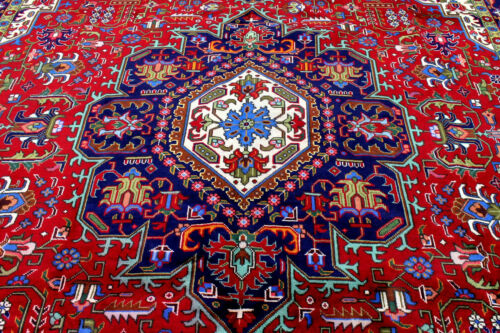 10X13 FINE ANTIQUE HAND KNOTTED VEGETABLE DYE HERIZZ TABRIZZ ORIENTAL WOOL RUG