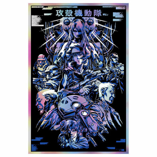 """Ghost in a Shell Kanji Limited Screen Rainbow Foil Print Art Poster 20"""" x 30"""""""