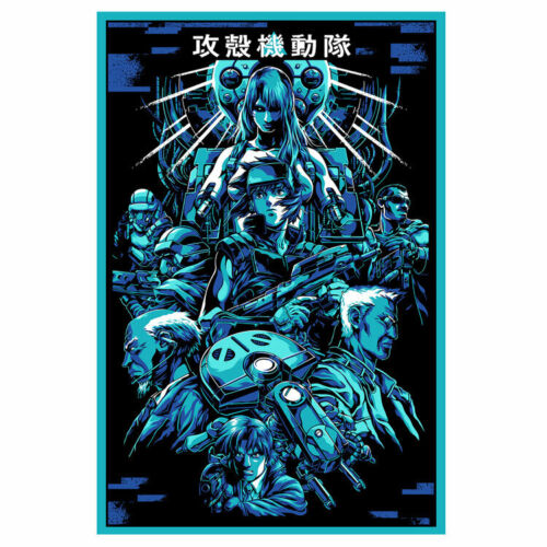 """Ghost in a Shell Kanji Limited Screen Blue Foil Print Art Poster 20"""" x 30"""""""