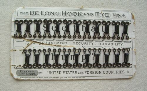 """Vtg Antique Card Rare Delong  Hooks and Eyes """"Collectible"""" Patent date 1889-1892"""