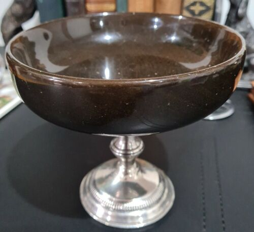 Mid-Century Sterling Silver & Wood Compote/ Bowl. 133mm. Weighted. EC