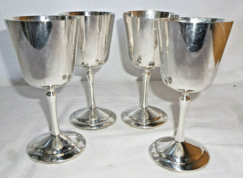SET of 4 VINTAGE SILVER WINE GOBLETS - Perfection Brand - 14cm high - good  cond