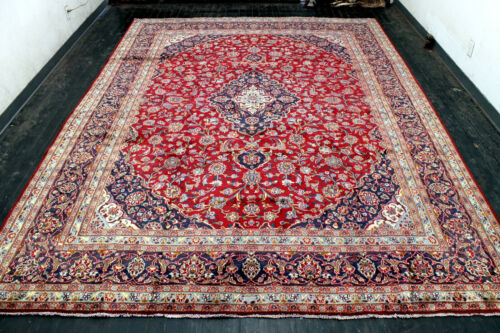 10X13 AUTHENTIC ANTIQUE HAND KNOTTED VEGETABLE DYE WOOL MASHADD DISTRESSED RUG