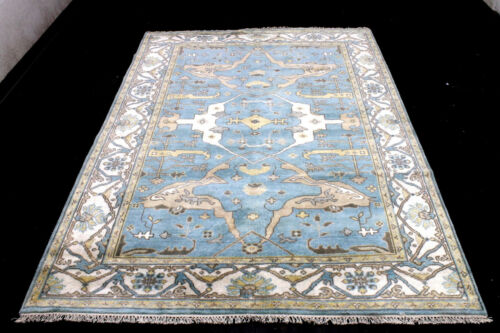 9X6 ELEGANT MINT NEW HAND KNOTTED MUTED COLORS WOOL OUSHAK TURKISH ORIENTAL RUG