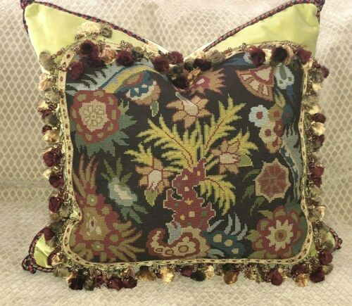 DRAMATIC ABSTRACT ANTIQUE NEEDLEPOINT TAPESTRY PILLOW #2