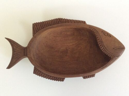 Vintage Carved Wooden Bowl Fish Shape, pacific island, tribal approx 32x18 cm