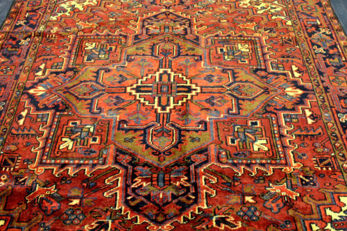 8X10 1940s EXQUISITE ELEGANT FINE ANTIQUE HAND KNOTTED HERIZZ GEOMETRIC WOOL RUG