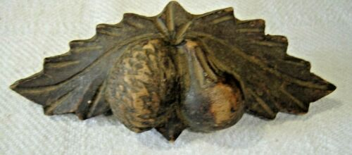 Salvage ~Antique  Victorian Walnut Carved Pull with Pear & Nut & Leaves #1355
