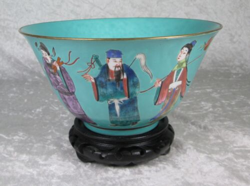 Chinese 8 Immortals Bowl Turquoise Ground Gold Rim Qianglong Mark 8inch Diameter