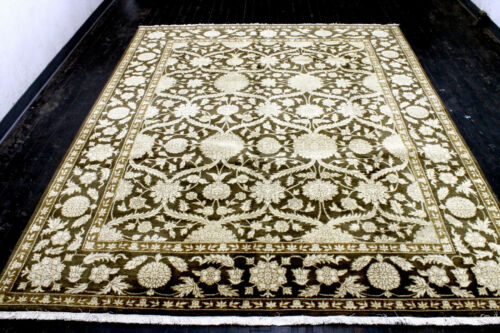 8X10 BREATHTAKING MINT NEW HAND KNOTTED HQ WOOL GOLDEN BROWN OUSHAK TURKISH RUG