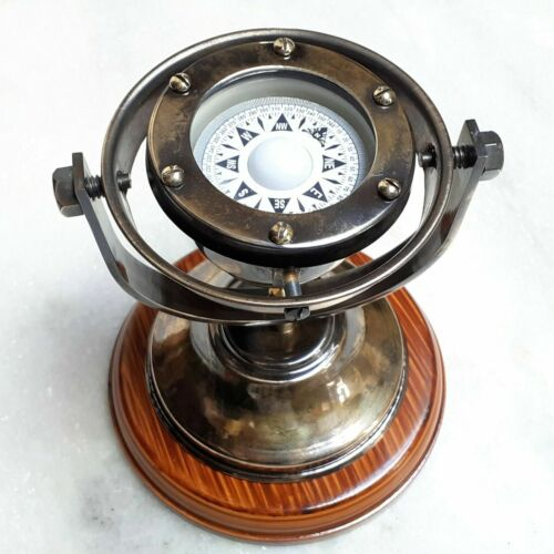 """Antique brass 5"""" gimbal compass on wooden base nautical maritime marine tabletop"""