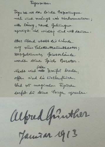 Writer Alfred Günther (1885-1969): Signed Handwriting 1913; Poems