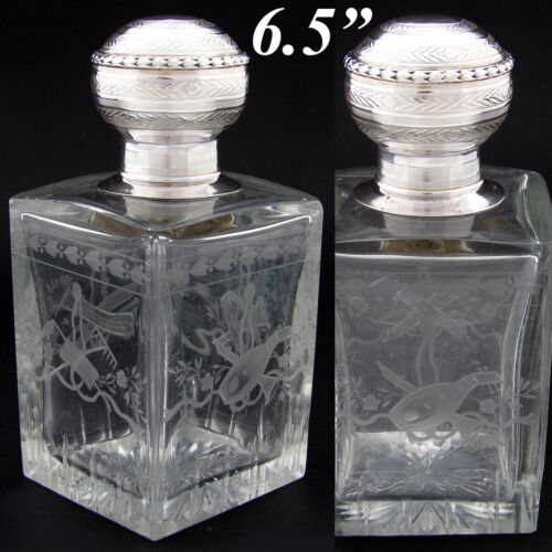 Antique French Sterling Silver & Intaglio Etched Glass Decanter, Cologne, Perfum