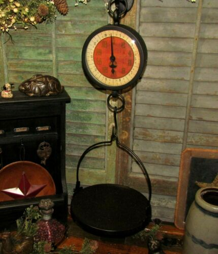Primitive Antique Vtg Style General Store Hanging Tray Basket Produce Scale Repo