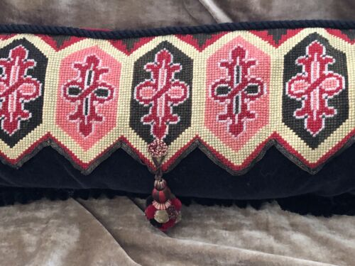 """DRAMATIC ANTIQUE NEEDLEPOINT AND BEADED PILLOW RED & BLACK 36"""" x 12"""""""