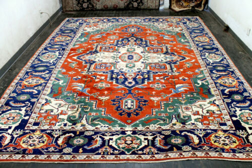 10X12 1940's MASTERPIECE MINT ANTIQUE HAND KNOTTED HERIZZ ALL WOOL TURKISH RUG